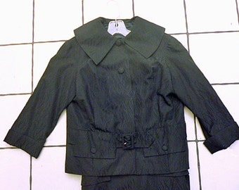 Distressed Paris made1950's Haute Couture dress and jacket