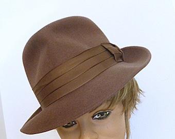 1950s Man's Genuine Vintage Brown Fedora