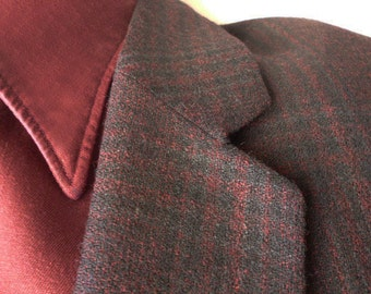 1950s Atomic-Rockabilly-Mad Men Burgundy Wool Plaid Sports Jacket
