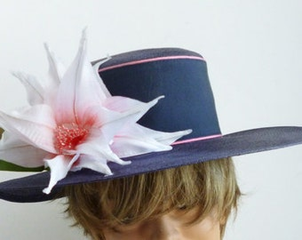 1980's Navy and Pink hat by Designer David M