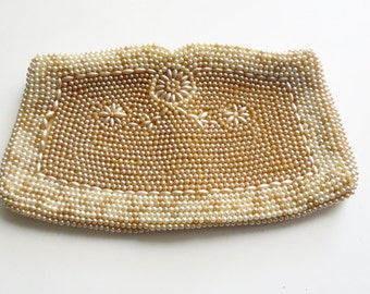 1930's-40's Japanese Ivory colored beaded bag