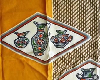 1960's Pottery Theme Scarf