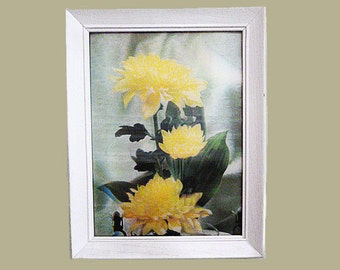 1950's Kitsch Lenticular 3-D flower picture made in USA