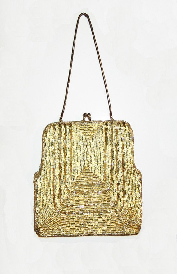 Vintage 1970's Deco inspired beaded purse
