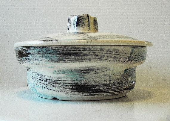 1950s Atomic Era ceramic serving dish with lid