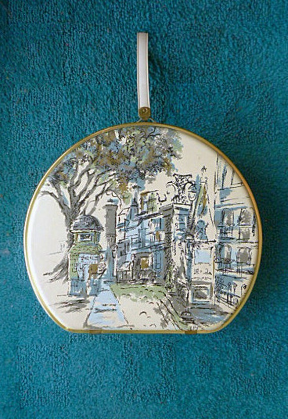 RESERVED FOR LISA 1950s Case with Arty Paris Street Scene Motif