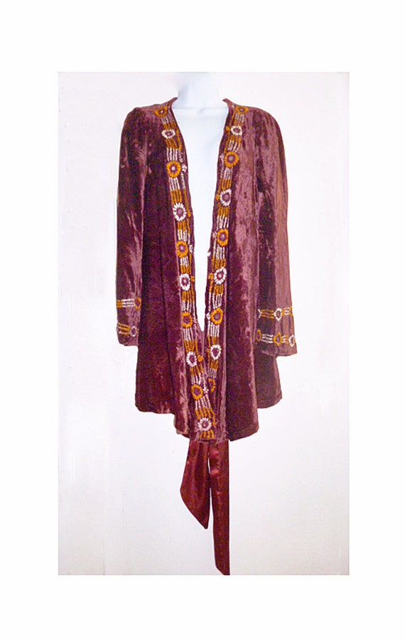 Hand embroidered Crushed Velvet Shabby Chic Hippy Top from Pakistan