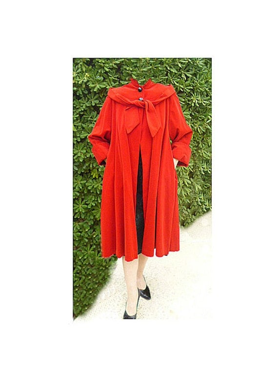 Reserved for April REDUCED 1950s Swing Red Velvet Atomic Era Mad Men Pin-up  lined coat