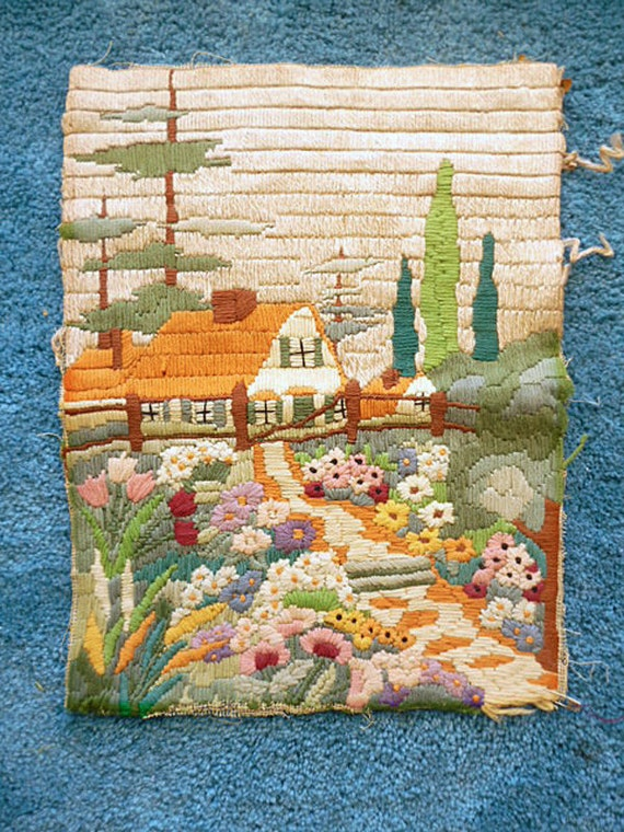1920s-30's Needlepoint Tapestry of Cottage