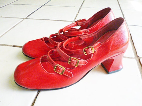 """1960's MOD Red Patent Leather """"Styleworth"""" shoes"""