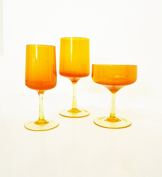 1970's Orange Glassware