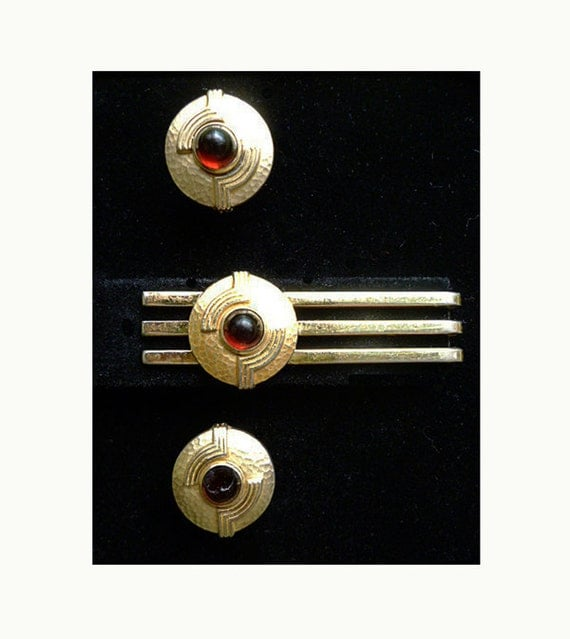 Art Deco Hollywood Cuff links and Tie Bar by Hickock