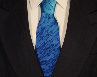 Hand Dyed Navy Blue Silk Tie