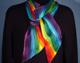 Rainbow Stripe Hand Dyed Long Skinny Silk Scarf