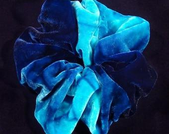 Hand Dyed Blue Velvet Silk Scrunchie