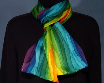 Hand Dyed Rainbow Stripe Silk Scarf