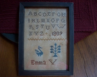 Primitive Early Style Emma 1809 Sampler Repro