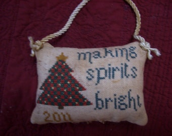 """3rd in series-""""2011"""" Christmas pillow ornament"""