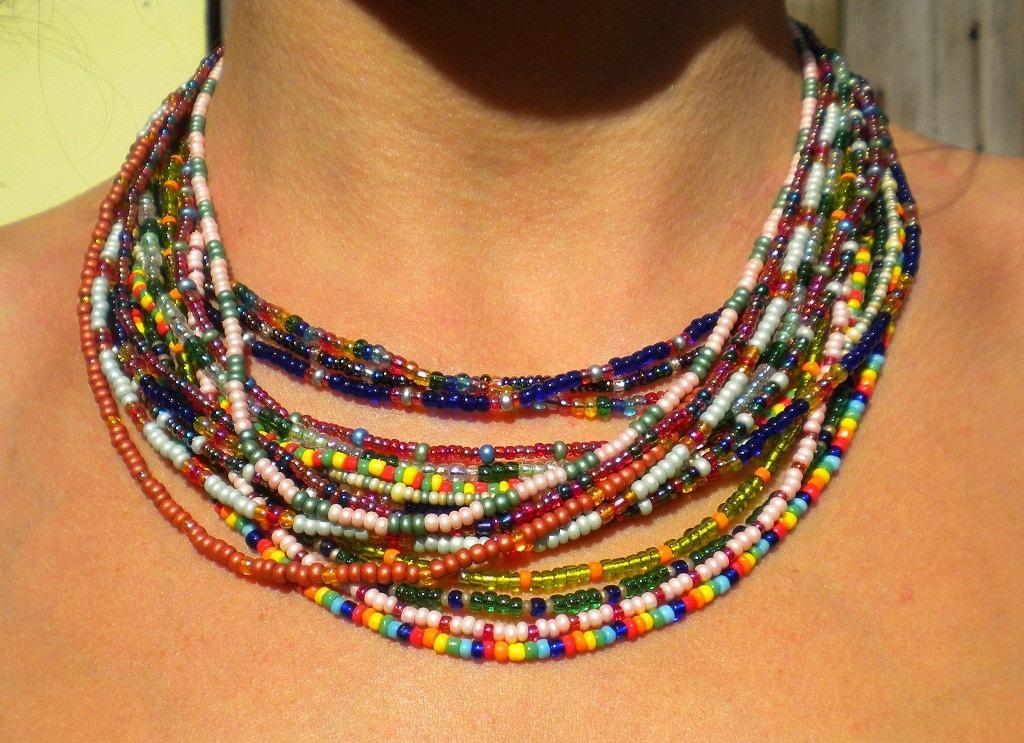 seed bead necklace elastic custom color choice