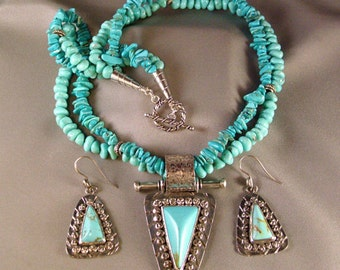 Sterling Silver Pendant and Earrings with Turquoise