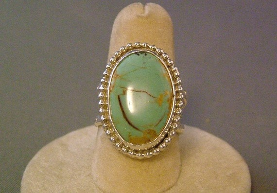 Turquoise Ring set on Beaded Sterling Silver