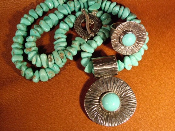 Sterling Silver and Turquoise Necklace and Ring Set