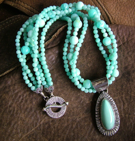Sterling Silver Turquoise Pendant and Blue Opal Necklace