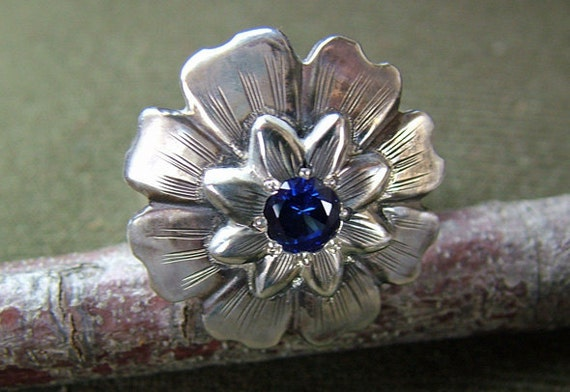 Sterling Silver and Sapphire Flower engraved Ring