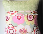 Memory Verse Pillow Cover, Pink and Green Floral with White Pom Pom Trim