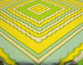 1970's Vintage Tablecloth, Aqua-Yellow-Green