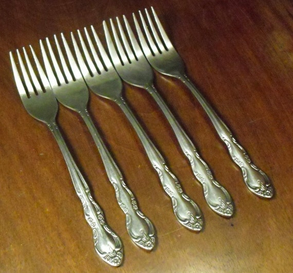 Vintage Stainless Flatware: 5 Forks from Imperial Stainless in Fleurette Pattern