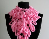 Curly Sausage Long Scarf-Pink-Soft