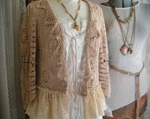 Vintage Crocheted Sweater, beige, romantic feminine, ruffled lace, altered couture, womens Small