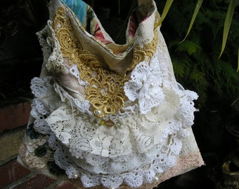 Ruffled Lace Bag, layered crocheted doilies laces pearls, SMALL Size Lightweight Bag, handmade cottage shabby, ooak victorian shoulder bag