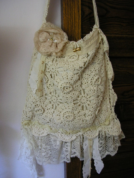Cotton Crochet Purse, Shabby Chic tattered, vintage lace