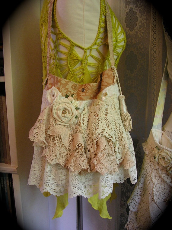 Shabby Doily Bag crocheted layered doilies romantic ruffled laces embellished fabric purse shoulder bag