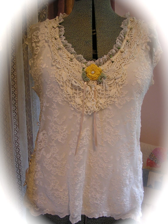 Romantic Victorian Blouse, soft lace fabric, crocheted doily, pearls