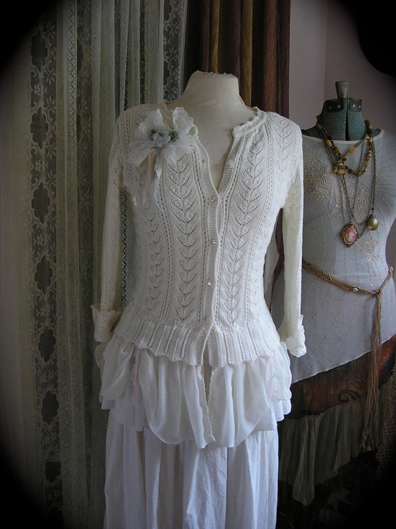 Romantic White Sweater, fancy altered couture, womens SMALL