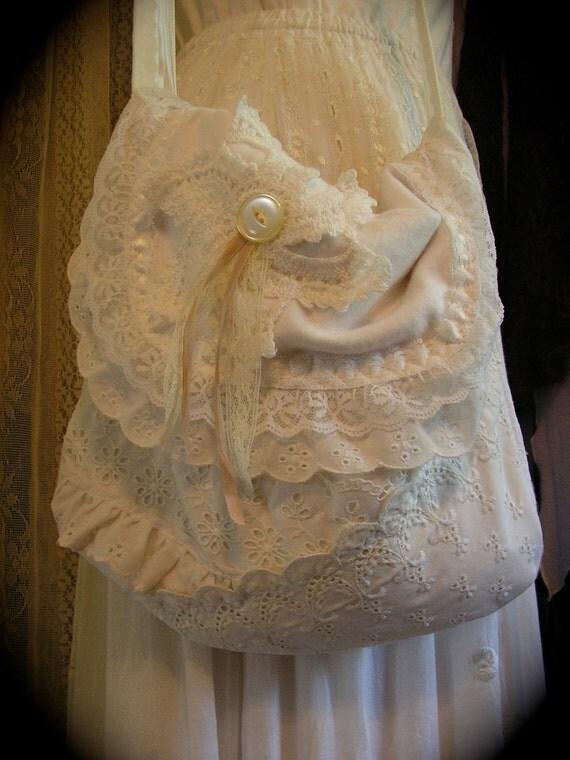 White Lace Purse, ruffled eyelet lace, soft fabric, handmade shabby cottage