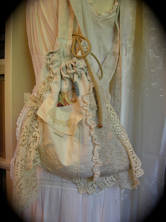 Linen Burlap Backpack, cottage victorian, vintage natural fabric, handmade shabby recycled