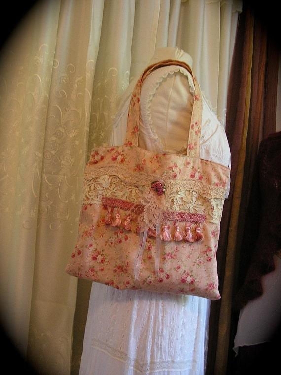 Antique Rose Handbag - handmade fabric bag - romantic shabbys chic pink florals - soft cotton cottage purse