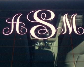 Monogram Car Decal - Vinyl Decal - Window - Vine Interlocking