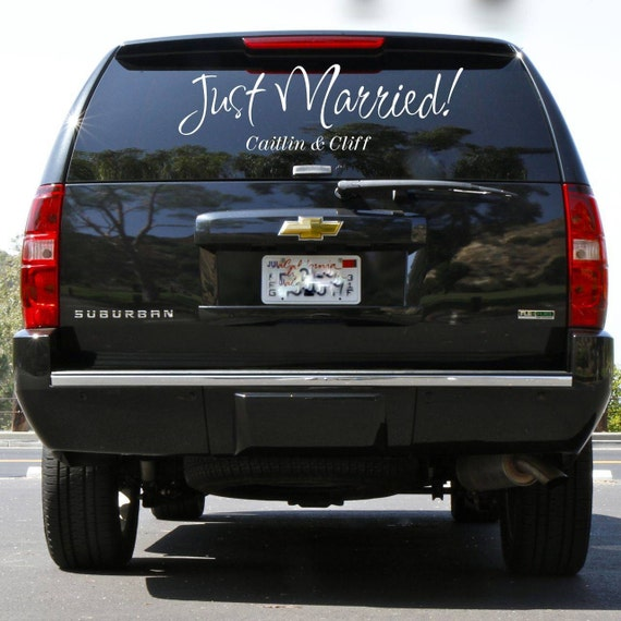 Just Married Vinyl Decal Design - Customized