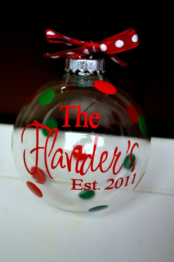 Personalized clear glass christmas ornament for Personalized christmas photo ornaments