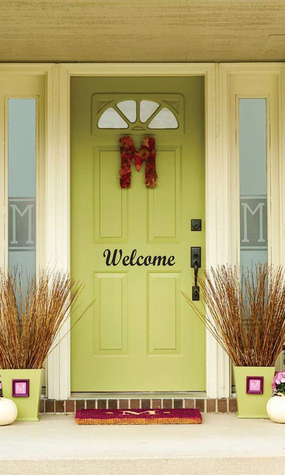 WELCOME Vinyl Front Door Decal By Embellishboutiquellc On Etsy