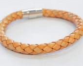 Light Brown braided leather cord with silver magnetic buckle bracelet