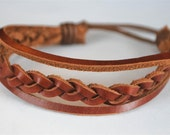 Brown braided leather with Brown Bracelet