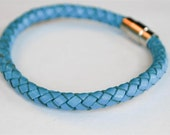 Blue braided leather cord with silver magnetic buckle bracelet