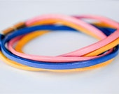 On Sale - Pink Blue and Yellow doublewrapped Magnetic leather bracelet