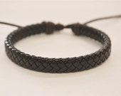 Brown Flat braided leather cord bracelet